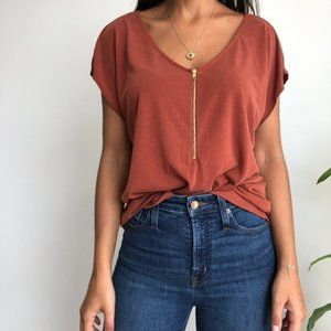 NWT Green Envelope burn orange short sleeve top